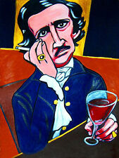 EDGAR ALLAN POE PRINT poster book raven works the bells tales poems wine glass