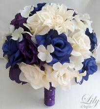 17pcs Wedding Bridal Bouquet Flower Bride Decoration Package PURPLE BLUE IVORY