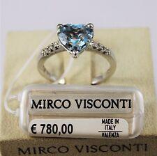 Anello oro bianco 18kt 750/°°° MIRCO VISCONTI con Diamanti e Acquamarina