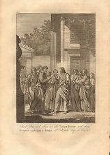 1770  ANTIQUE PRINT -BIBLE- AND JESUS SAID SHOW ME THE TRIBUTE MONEY