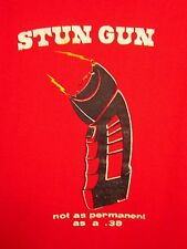 "STUN GUN sweatshirt XL Ohio ""Not as Permanent as .38"" crewneck Toledo gun 1980s"
