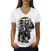 Wellcoda Gamer Fantasy Womens V-Neck T-shirt, Geek Fashion Graphic Design Tee