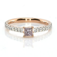 0.53ct Natural Fancy Pink Purple Diamond  Engagement Ring Princess 18K VS-SI