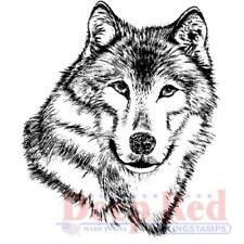 Deep Red Stamps Wolf Portrait Rubber Cling Stamp