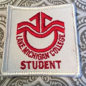 """Lake Michigan College Student Patch Red White 2 x 2 """" Movie Prop Embroidered #66"""