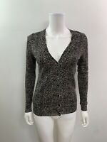 Ann Taylor Women's Size Small Long Sleeve V Neck Thin Leopard Sweater Cardigan