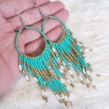 Womens Vintage Bohemian Indiana Hippies Beads Fringes Long Dangle Drop Earrings