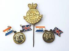 Vintage-Rare-King George VI & Elizabeth II Picture Portrait Pendants & Stick Pin