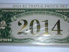 2014 BEP Federal Reserve $2 Triple Deuce Note Set