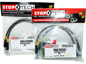 Stoptech Stainless Steel Braided Brake Lines (Front & Rear Set / 58000+58501)