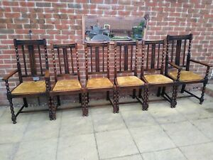 6 Antique Oak Barley Twist Chairs Refurbished