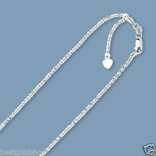 "Up to 22"" Solid Adjustable Sparkle Chain Necklace Real 10K White Gold 1.5mm"