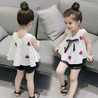 2PCS Kids Toddler Baby Girls T-shirt Tops+Shorts Pants Summer Outfit Clothes Set