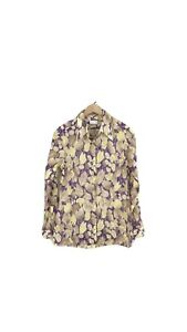 Dries Van Noten Size Small  Blouse Top Button Front Floral Purple Yellow