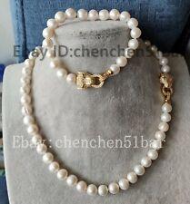kultiviert 9-10mm weiß Süßwasserperle Tiger Kopf Halskette Armband 18/8 zoll