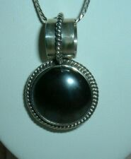 """Stone Lg Bail 18"""" Fancy Chain Sterling Silver Pendant Signed Cii Mexico Hematite"""