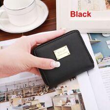 Fashion Women PU Leather Small Wallet Card Holder Zip Coin Purse Clutch Handbags Black