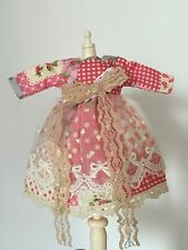 Blythe Pullip Doll Outfit Pink Patterned Lace Edge Dress