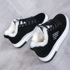 Women Winter Snow Boots Lace Up Round Toe Faux Suede Flat Ankle Boots Shoes Size