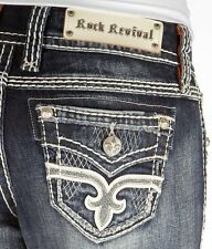 Rock Revival Jeans Lonnie Mid Rise Faux Flap Easy Bootcut 30 X 27 NWT/DEFECT