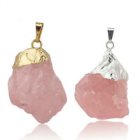 Natural Handmade Rose Quartz Topaz Yellow Gold Plated Silver Necklace Pendants