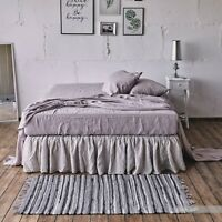 FITTED SHEET 100% flax pure solid linen Bed sheet in US Twin Queen King sizes