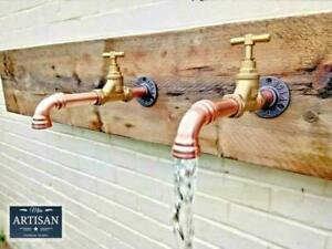 Pair Of Copper Pipe Wall Mounted Faucet Taps