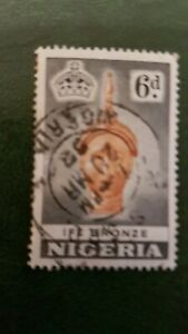 Postage Stamp Nigeria 1953 6d Ife Bronze Used SG No.75