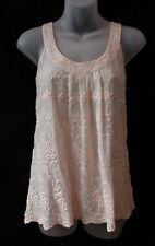 Forever New Sz 10 S Top Sequin & Embroidery Detail Soft Peach 100% Cotton Casual