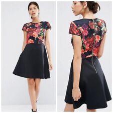 Ted Baker Women's Size 4 Fit & Flare Juxtapose Rose Skater Dress Black Floral