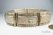 ANTIQUE ENGLISH VICTORIAN PERIOD STERLING SILVER BRACELET c1890