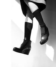 COCLICO SHOES HALETTE WEDGE BOOTIES BLACK LEATHER ANKLE BOOTS 39 8 $450 NEW