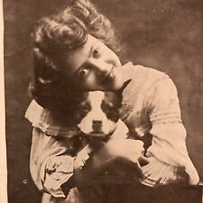 1912 American Pitbull Terrier Puppy Young Girl You're A Lucky Dog Postcard Rppc?