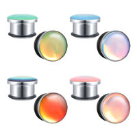 2Pcs 6-16MM Magic Colors Ear Plugs Tunnels Stainless Steel Ear Gauge with O-Ring