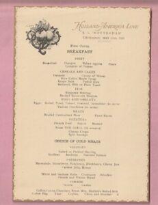 Holland America shipping line Breakfast menu, S.S. Rotterdam. 1923.