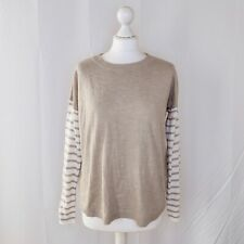 French Connection Beige Jumper Stripped Long Sleeved Sweater - Size Small
