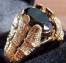 Millionaire 18CT YELLOW GOLD GF MEN,S BLACK SAPPHIRE QUARTZ RING SIZE 11 US