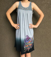 Y London Juniors Tattoo Print Tank Top Dress w/ Rhinestones • Black Gray Dip Dye