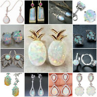 Shiny 925 Silver Opal Moonstone Earrings Dangle Drop Ear Hook Women Jewelry Gift