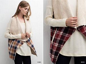 Women's Plaid Faux Fur Lining Boho Winter Vest Cardigan Loose Country Bon Fire