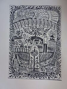 """Original Unique Linocut """"Lithuania. Inspired by Maironis"""" Print by Famous Artist"""