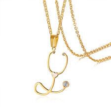 Women Necklace Pendant Cubic Zirconia Anatomy Heart Stethoscope Nurse's Day Gift