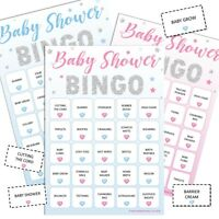 BABY SHOWER BINGO - Fun Party Game, 20 Players Boy Blue Girl Pink Unisex STARS
