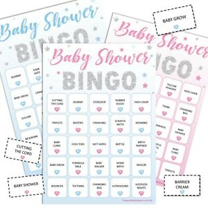 BABY SHOWER BINGO - Fun Party Game, 20 Players Boy Blue Girl Pink Unisex STARS