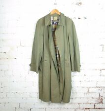 Men's Burberry Khaki Green Novacheck Lined Trench Coat Mac Size 54 Long