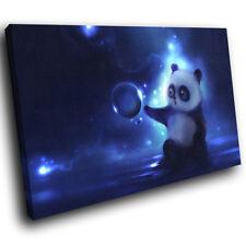 A261 Panda Blue Black White Funky Animal Canvas Wall Art Large Picture Prints