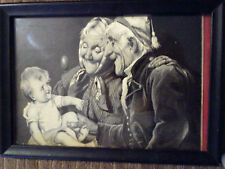 Antique-1918 French, Rare-Framed Silkscreen -darling baby/grandparents-Ww1 Era