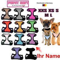 Hunde Brustgeschirr Softgeschirr viele Farbe XXS-XS-S-M Mit Ihrem Namen Bestickt