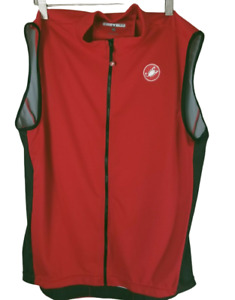 Castelli Red Full Zip Scorpion Sleeveless Back Pocket Cycling Jersey Men's 2XL