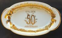 Vintage NORCREST Fine China Golden 50 ANNIVERSARY Small Oval Shape Bowl B-654